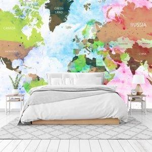 Ταπετσαρία τοίχου watercolor World Map
