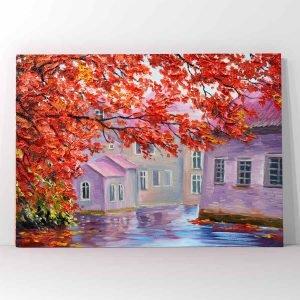 Autumn Trees Village πίνακας σε καμβά