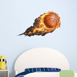 Φλεγόμενη μπάλα basket αυτοκόλλητο τοίχου