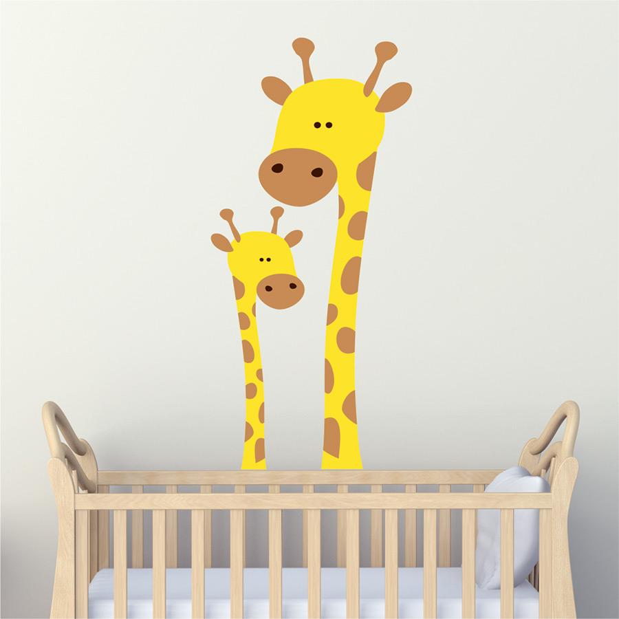 Καμηλοπαρδάλεις – μαμά και παιδάκι – αυτοκόλλητο τοίχου