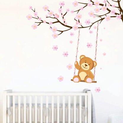 Κλαδάκι με αρκουδάκι αυτοκόλλητο τοίχου