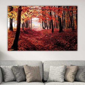 Κόκκινο Φθινοπωρινό Δάσος πίνακας σε καμβά