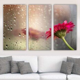Τρίπτυχος πίνακας σε καμβά Λουλούδι και Σταγόνες
