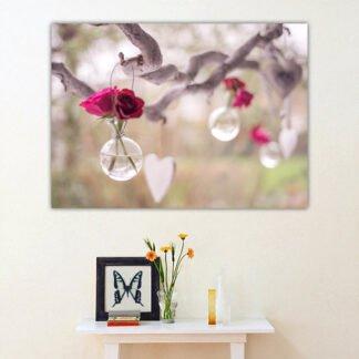Λουλούδια σε βαζάκια πίνακας σε καμβά
