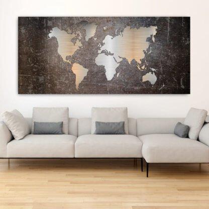 Πανοραμικός πίνακας σε καμβά Metal effect world map