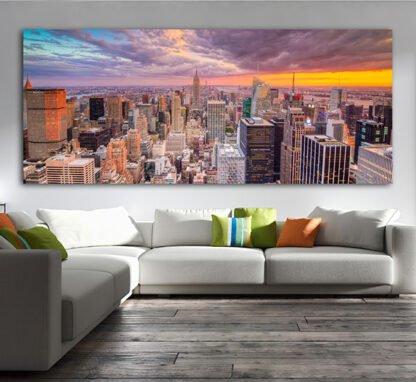 Πανοραμικός πίνακας σε καμβά New York sunset