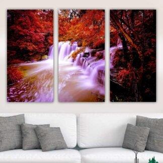 Τρίπτυχος πίνακας σε καμβά Red Waterfall