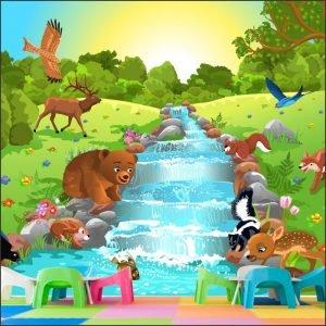 Ρυάκι με ζωάκια παιδική φωτοταπετσαρία τοίχο
