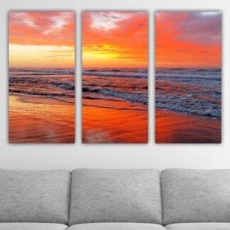 Τρίπτυχος πίνακας σε καμβά Sea Sunset