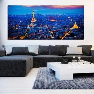 Πίνακας σε καμβά το Παρίσι την νύχτα Πανοραμικός