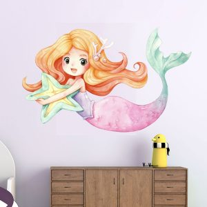 Watercolor Mermaid αυτοκόλλητο τοίχου