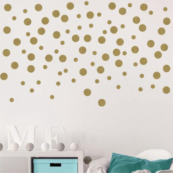 Χρυσά αυτοκόλλητα τοίχου βούλες – polka dots Gold – κύκλοι