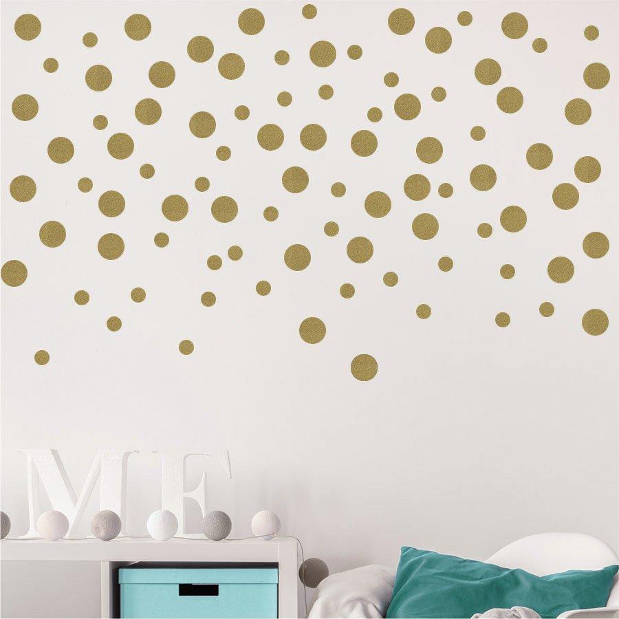 Χρυσά αυτοκόλλητα τοίχου βούλες – polka dots Gold