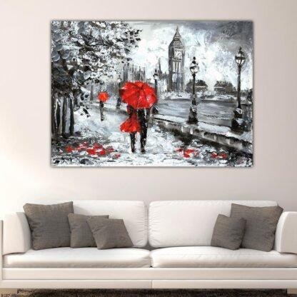 Πίνακας σε καμβά Βροχερός περίπατος