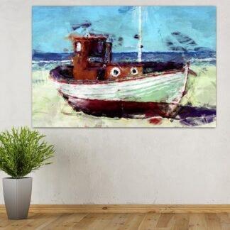 Καΐκι – βάρκα πίνακας σε καμβά