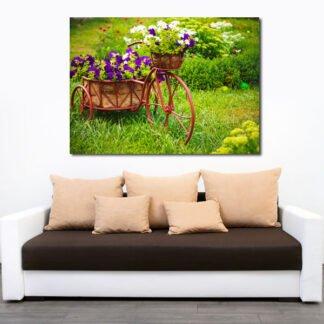 Πίνακας σε καμβά ποδήλατο με λουλούδια