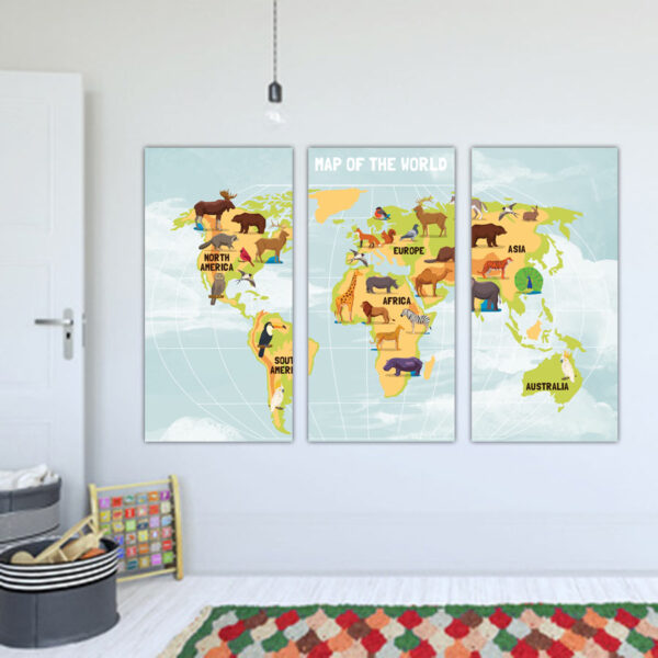 Τρίπτυχος παιδικός πίνακας σε καμβά Map of the world