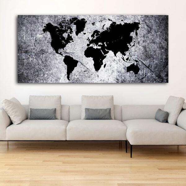 Πανοραμικός πίνακας σε καμβά Abstract World Map