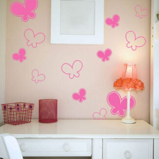 Αυτοκόλλητα τοίχου πεταλουδίτσες σετ 19 τεμάχια