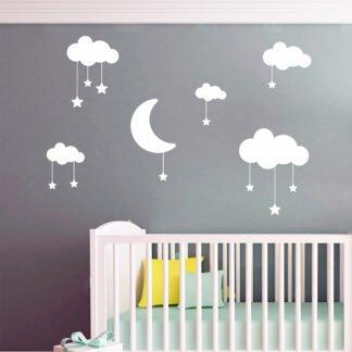 Αυτοκόλλητα τοίχου Φεγγαράκι με συννεφάκια και αστεράκια