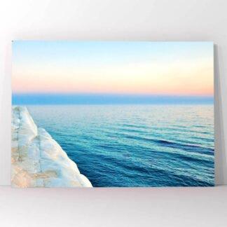 Ηλιοβασίλεμα θάλασσα και λευκά βράχια πίνακας σε καμβά