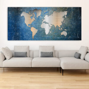 Πανοραμικός πίνακας σε καμβά Metal effect Blue world map