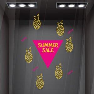 Αυτοκόλλητο βιτρίνας Summer Sale με ανανά