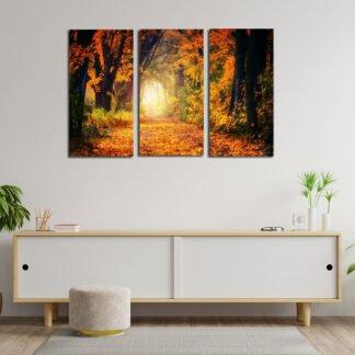Τρίπτυχος πίνακας σε καμβά Φθινοπωρινο μονοπάτι