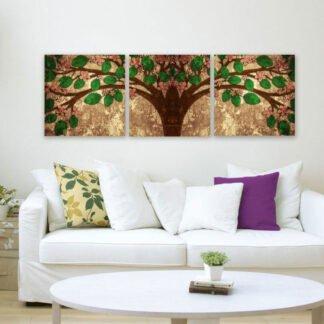 Τρίπτυχος πίνακας σε καμβά Tree of life