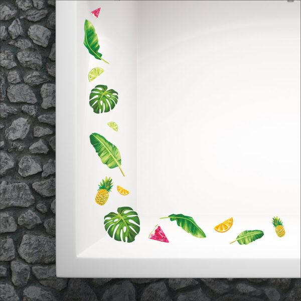 Καλοκαιρινό αυτοκόλλητο για τζάμι – βιτρίνας Τροπικά φύλλα και φρούτα