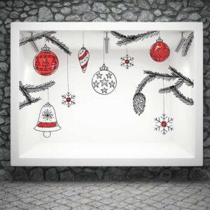 Τεράστια χριστουγεννιάτικα στολίδια αυτοκόλλητα βιτρίνας