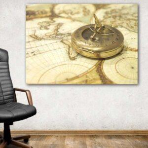 Πυξίδα & χάρτης καμβάς