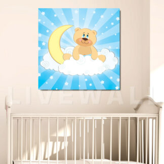 Παιδικός πίνακας σε καμβά αρκουδάκι με αστεράκια