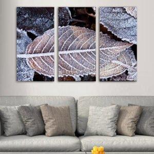 Τρίπτυχος πίνακας σε καμβά χιονισμένα φύλλα