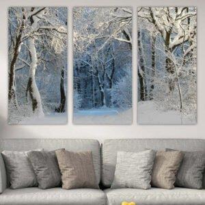 Τρίπτυχος πίνακας σε καμβά χιονισμένο μονοπάτι
