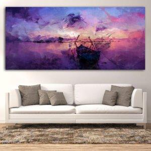 Artistic boat on a sunset (βάρκα σε ηλιοβασίλεμα) πανοραμικός πίνακας σε καμβά