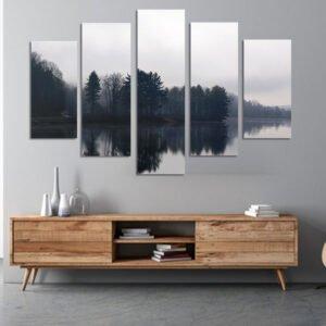 Πεντάπτυχος πίνακας σε καμβά Black & White Lake