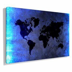 Πίνακας σε καμβά Cyan light World map (παγκόσμιος χάρτης cyan light)