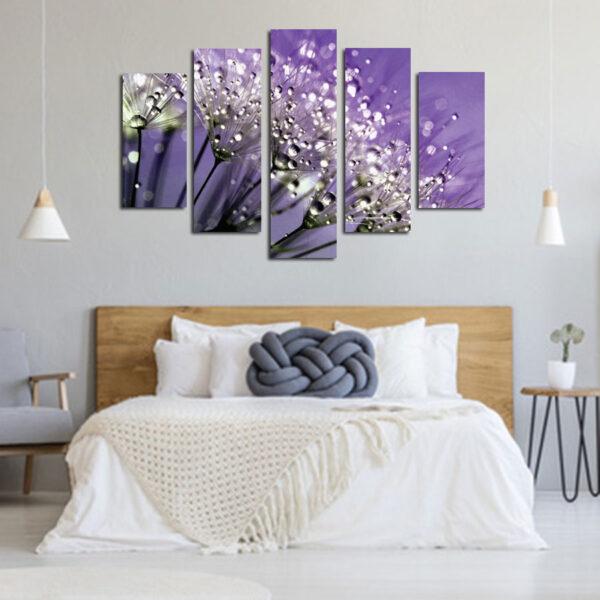 Πεντάπτυχος πίνακας σε καμβά Dandelion