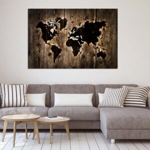 Πίνακας σε καμβά Dark Wooden World map lighning effect ( παγκόσμιος χάρτης )