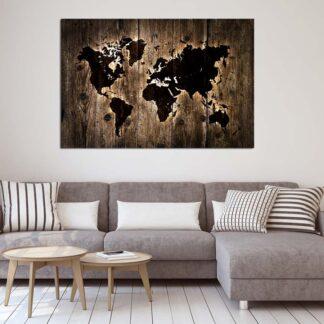 Πίνακας σε καμβά Dark Wooden World map lightning effect (παγκόσμιος χάρτης)