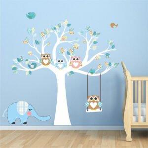 Δέντρο με κουκουβάγιες νο3 σε μπλε αποχρώσεις αυτοκόλλητο τοίχου