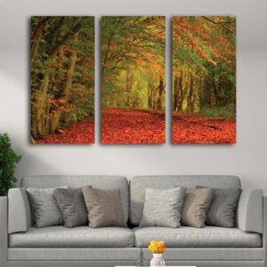 Τρίπτυχος πίνακας σε καμβά Εντυπωσιακό φθινοπωρινό τοπίο