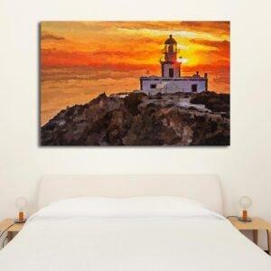 Φάρος σε ηλιοβασίλεμα πίνακας σε καμβά με εφέ ζωγραφικής