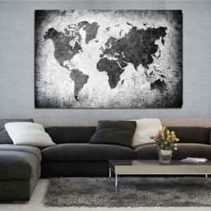 Πίνακας σε καμβά Grain World map No2 ( παγκόσμιος χάρτης σε τοίχο )