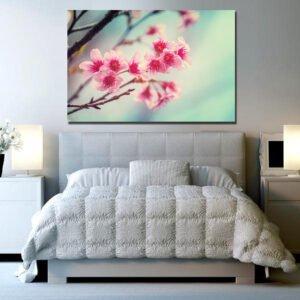Κλαδί με ροζ λουλούδια πίνακας σε καμβά