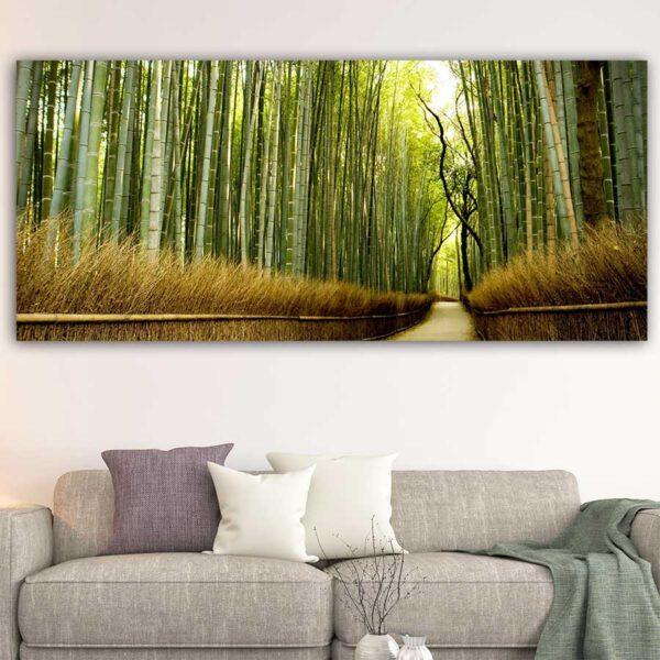 Μονοπάτι με bamboo πανοραμικός πίνακας σε καμβά