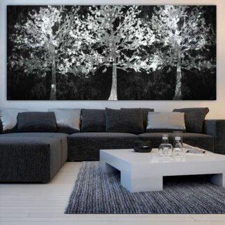 Πανοραμικός πίνακας σε καμβά λευκά δέντρα