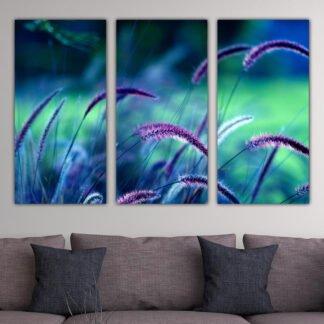 Τρίπτυχος πίνακας σε καμβά purple flowers