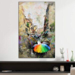 Rainy Venice κάθετος πίνακας σε καμβά